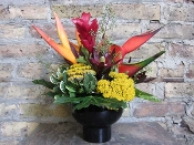 Tropical Mix-Heliconia & Ginger--In A Black Ceramic Container
