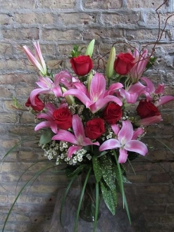 $95.00~Blend Of Red Roses & Fragrant Lilies